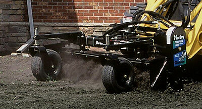 """Skid Steer Harley Power Box Rake Attachment 72"""" Wide With Hydraulic Angle"""