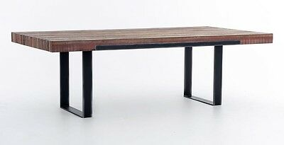 """93"""" Long Dining Table Cast iron base Solid wood top Acacia hardwood Modern AG"""