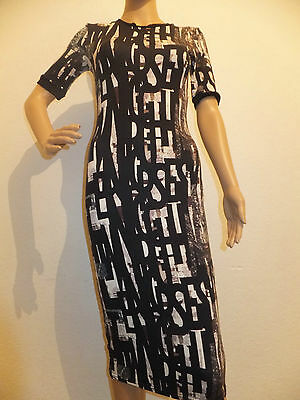 5996d14e30c Ex Chainstore Topshop Ladies Black News Print Bodycon Dress Uk6-16 Was  £34.00