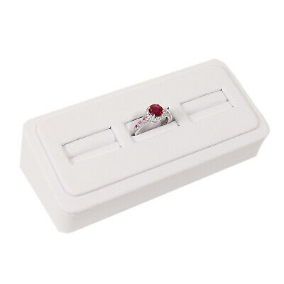 Ring Wedge Stand With 3 Slots White Faux Leather