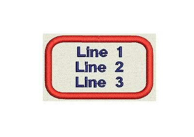 """Embroidered oval Patch 3"""" x 1.75"""" - Customize All Three lines"""