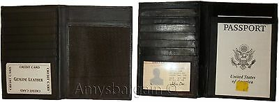 New lamb skin smooth leather passport case 6 credit card ID large billfold bnwt*