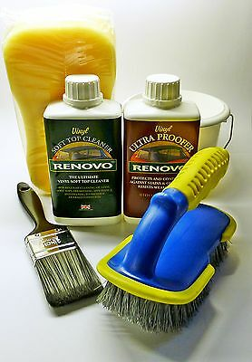 Renovo Convertible Vinyl Soft Top Cleaner & Proofer COMPLETE KIT with brushes
