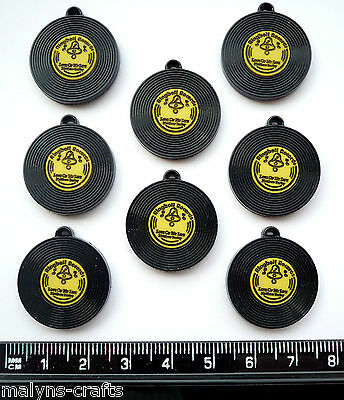 YELLOW & BLACK RECORDS Craft Embellishment Charms Music Retro Rockabilly LP Rock