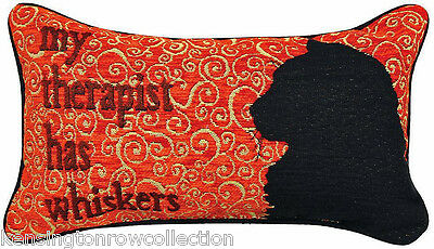 """Decorative Pillows - """"my Therapist Has Whiskers"""" Throw Pillow - Cat Pillow"""