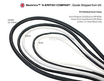 BLACK /& WHITE Fabulous Faux Leather Braided Woven Cord 3mm lady-muck1