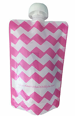5, 10 & 20 Packs - Reusable Food Pouch for Babies & Toddlers, PINK Chevron