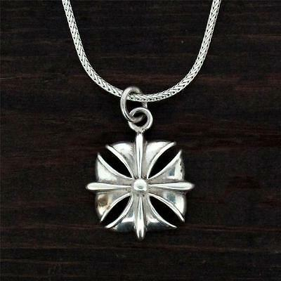 Gothic Iron Cross Sterling Silver Pendant Necklace Jewelry Gothic Rock Biker