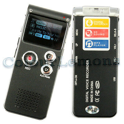 Rechargeable 8GB Steel Digital Sound Voice Recorder Dictaphone MP3 Player record