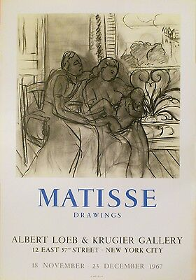Henri Matisse poster litho Mourlot 1967 Drawings Albert Loeb gallery New York