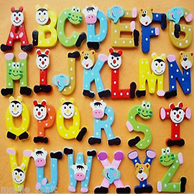 10pcs/15pcs/26pcs Wooden Fridge Magnet Kids Child Baby Toy with Cute Animal Eyes