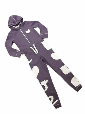 M&S Purple White Heart/Love Hooded Onezee Sleep All in one Ages 6 7 8 Yrs SALE!