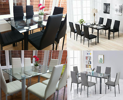 Stunning Glass Dining Table Set And With 6 Faux Leather Chairs White Black New