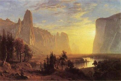 Art nice Oil painting landscape YOSEMITE VALLEY at YOSEMITE PARK in CALIFORNIA