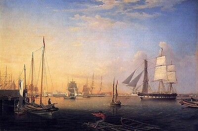 Oil painting Fitz Hugh Lane - Baltimore Harbor Big sail boats in sunset seascape
