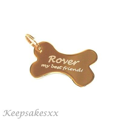 BONE Shaped Dog  puppy TAG or  KEYRING Gold Plated with PERSONALISED ENGRAVING
