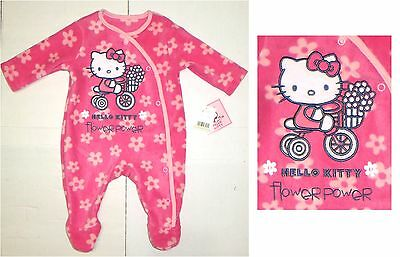 Premature Baby Hello Kitty Pink fleece sleepsuit All in One Romper Reborn Tiny