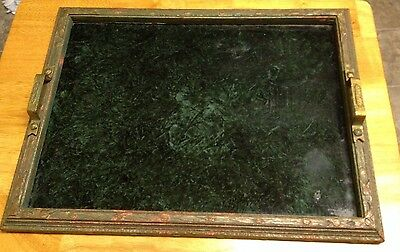 Antique Hand Carved Wooden Green Painted Glass Serving Tray W/ Brass Handles