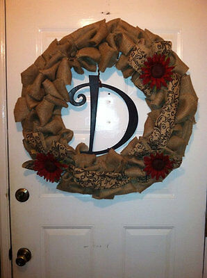 "20"" Burlap Wreath with Red Sunflowers and Monogram Letter"