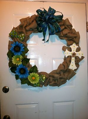 "20"" Burlap Wreath with Blue & Lime Green Sunflowers With A Cross"