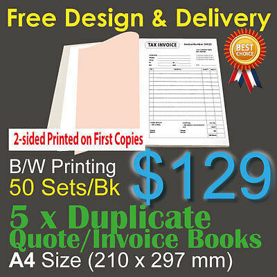 5 x A4 Customised Printed Duplicate QUOTE / Tax INVOICE Books *2-sided printing