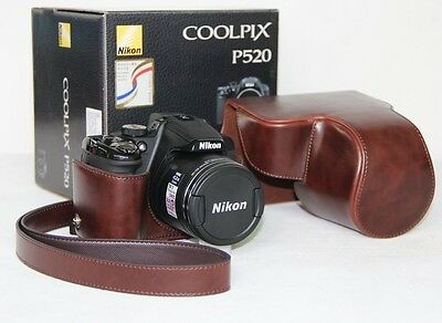Ever Ready Camera PU Leather Bag Case Cover For  Nikon COOLPIX P520 P510 P500