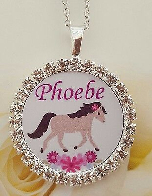 Personalised girls necklace jewellery horse riding birthday xmas gift present