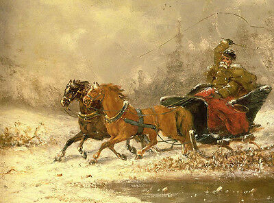 Nice Oil painting old man on the Horse-drawn sleigh in sunset winter landscape