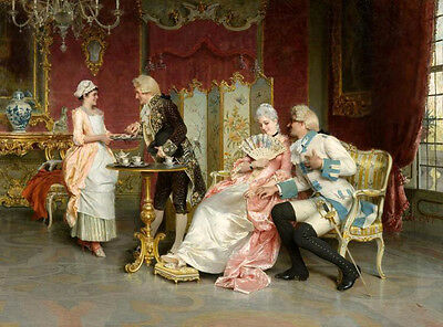Oil painting Arturo Ricci - The Flirtation portraits counts with noblewomen 36""