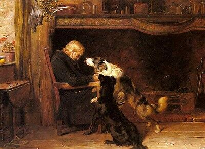 Art Oil painting Portrait - The Long Sleep elder with his pets dogs on canvas