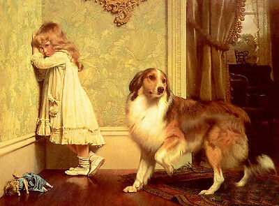 Oil painting lovely little girl with her pet dog on canvas