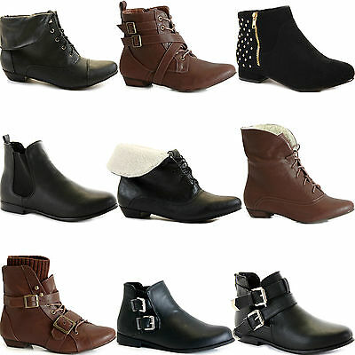 NEW WOMENS LADIES FLAT ANKLE BOOTS LOW HEEL VINTAGE PIXIE CHELSEA BOOTIES SIZE