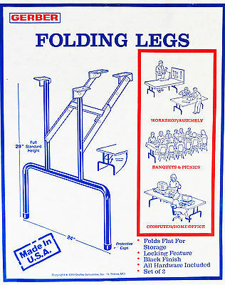 "Folding Black Metal Table Legs 29"" Tall 24"" Wide ( Pkg./2)"