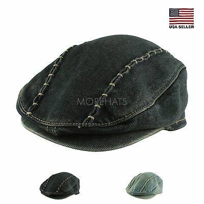 Mens Womens Kids Unisex Gatsby Stitch Cotton Vintage Jean Newsboy Cabbie Cap  Hat 0692e960dc1e