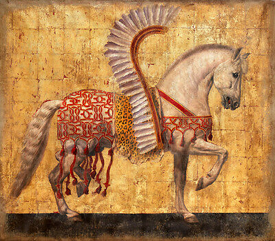 Oil painting The horse hussars nice white horse with wings in landscape canvas