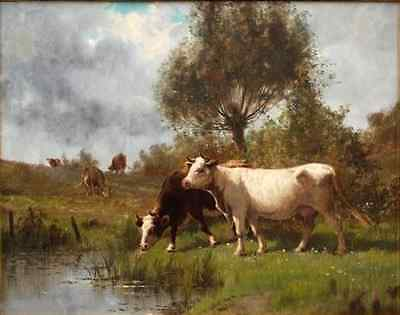 Dream-art Oil painting cows cattles by pond in landscape with trees canvas 36""
