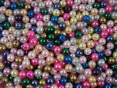 Beads Pearls Plastic 7mm Mix 25g Faux Beading Jewellery FREE POSTAGE