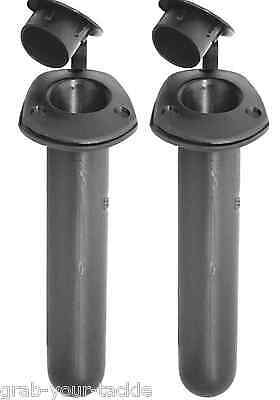 Rod Holders x 2 With Black Caps Kayak / Fishing Rod Holders Boat Rod Holders