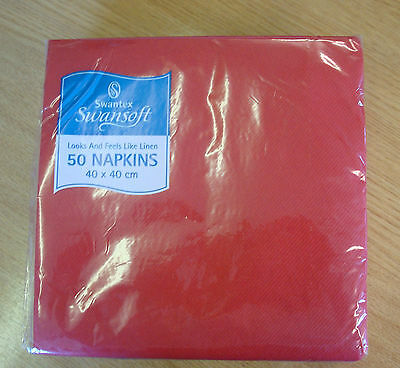 500 Red Napkins 40cm Swansoft Serviettes Swantex Catering Restaurant Xmas
