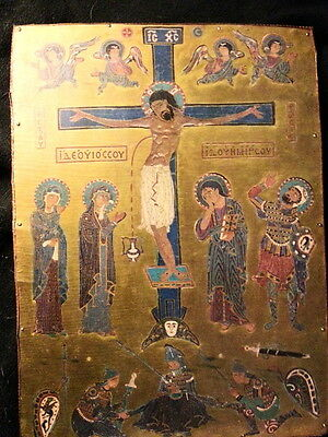 12th Century Enamel of Christ on Cross Reproduction Mounted on Wooden Board