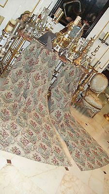 FRENCH ANTIQUE PAIR FLORAL TAPESTRY DRAPES PANELS