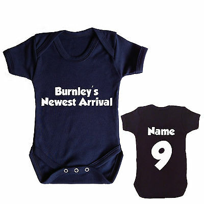 BURNLEY FC PERSONALISED FOOTBALL BABYGROW CHOOSE YOUR NAME AND NUMBER