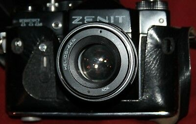 Vintage Soviet Russian Zenit TTL Camera with Helios 44M Lens and leather case