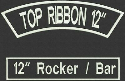 """Custom Embroidered Rocker and Bar Patch Set Biker Motorcycle Tag Badge 12"""""""