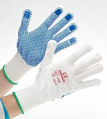 12 and 6 PAIRS OF WORRIOR POLYSTER/COTTON PVC DOTTED WORK GLOVES SAFETY GRIP