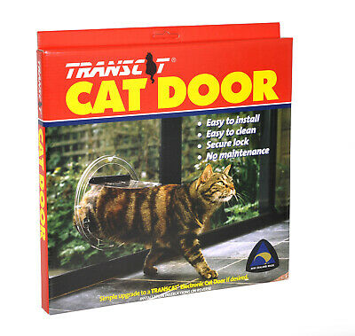 Transcat Cat Door Dog Flap Glass Fitting 4 Way Locking Clear Small Pet
