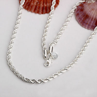 XMAS sterling solid silver Twisted rope 2mm 16- 24inch chain  necklace NN403