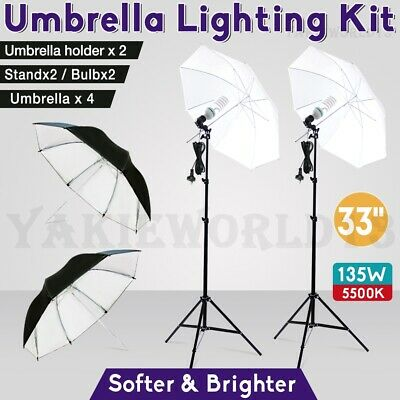 Photography Studio Soft Umbrella Lighting Photo Video Reflector Light Stand Kit