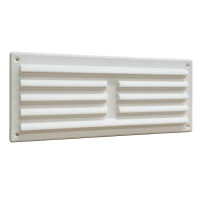 "9"" x 3"" White Plastic Louvre Air Vent Grille with Removable Flyscreen Cover"