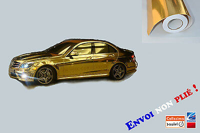 152 x 100 cm FILM VINYLE CHROME GOLD THERMOFORMABLE CAR WRAP TUNING DISCOUNT